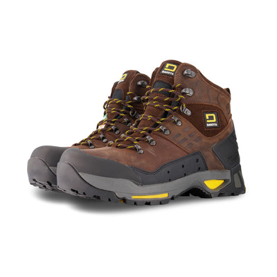 key features Men's 6 Inch Waterproof Leather Safety Work Boots Steel Toe Composite Plated With Anti-Slip Soles - Dark Brown