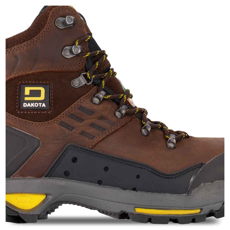 Men's 6 Inch Waterproof Leather Safety Work Boots Steel Toe Composite Plated With Anti-Slip Soles - Dark Brown