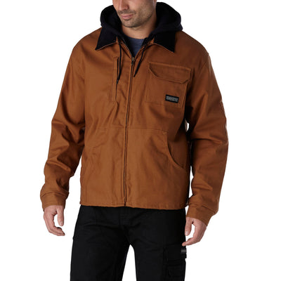 key features Men's Thermal Insulated Stretch Cotton Work Jacket With Adjustable Hood And Quilted Lining - Brown