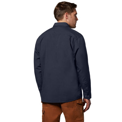 key features Men's Long Sleeve Button Up Cotton Canvas Work Shirt With Pockets - Navy