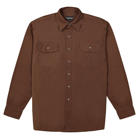Men's long sleeve 100% cotton workwear work shirt  - Chestnut