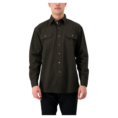 key features Men's long sleeve 100% cotton workwear work shirt - Moss