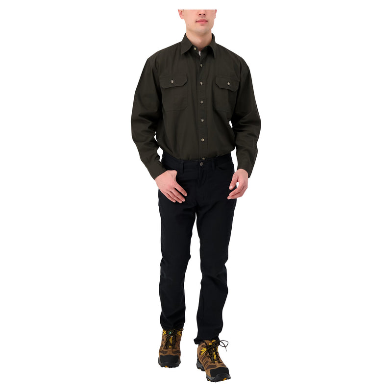 Men's long sleeve 100% cotton workwear work shirt - Moss