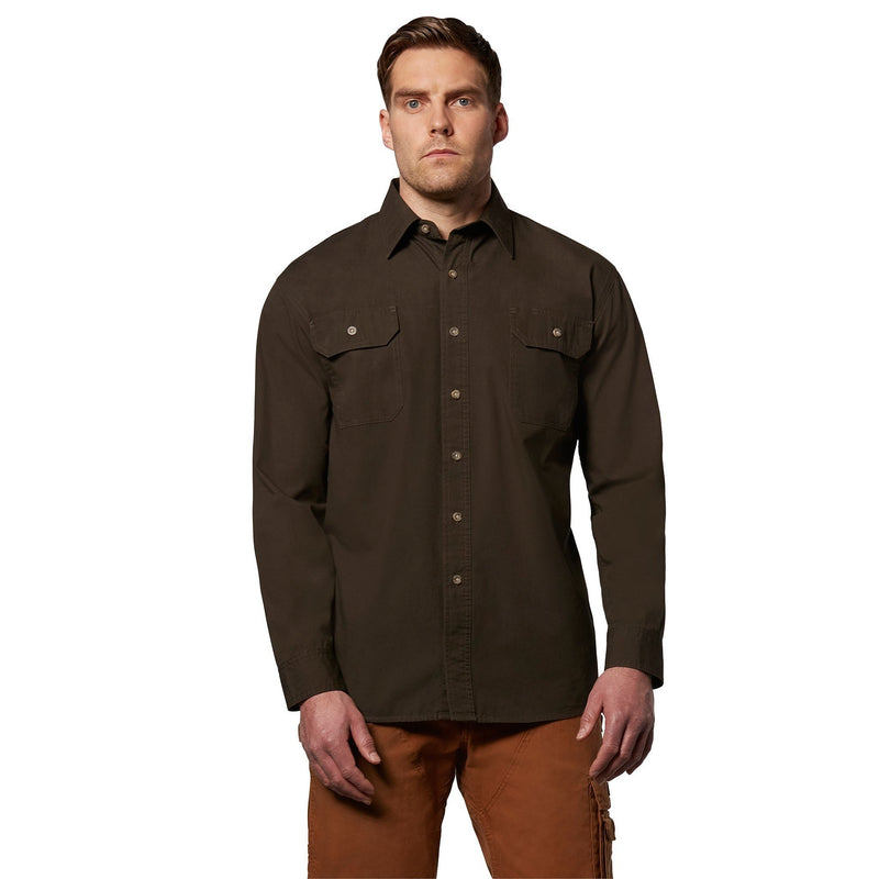 Men's long sleeve 100% cotton contractor work shirt - Moss
