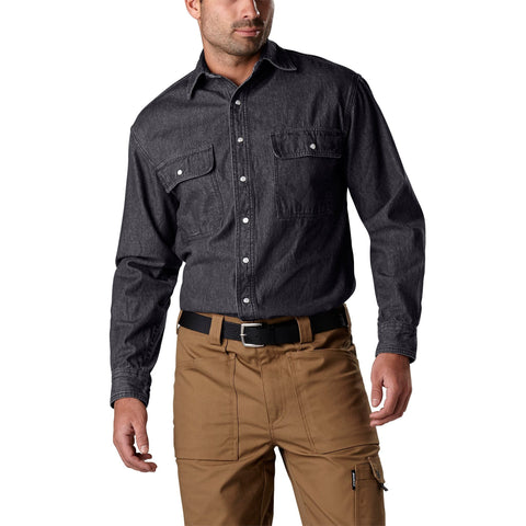Men's long-sleeve cotton denim work shirt with a snap front- Black
