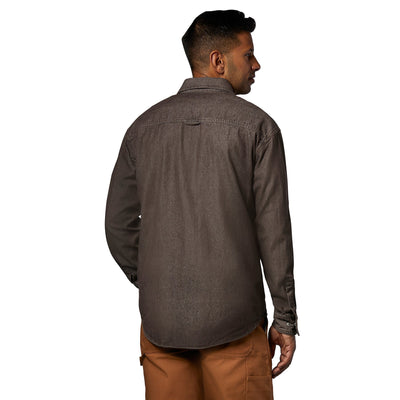 key features Men's long-sleeve cotton denim work shirt with a snap front- Chestnut