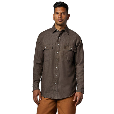 Men's long-sleeve cotton denim work shirt with a snap front- Chestnut