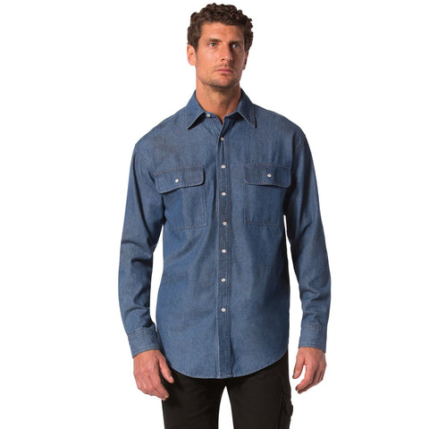 Men's Long Sleeve Cotton Denim Work Shirt With A Snap Front - Denim