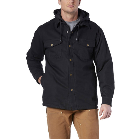 Men's layered hoodie work jacket, cotton & breathable - Black