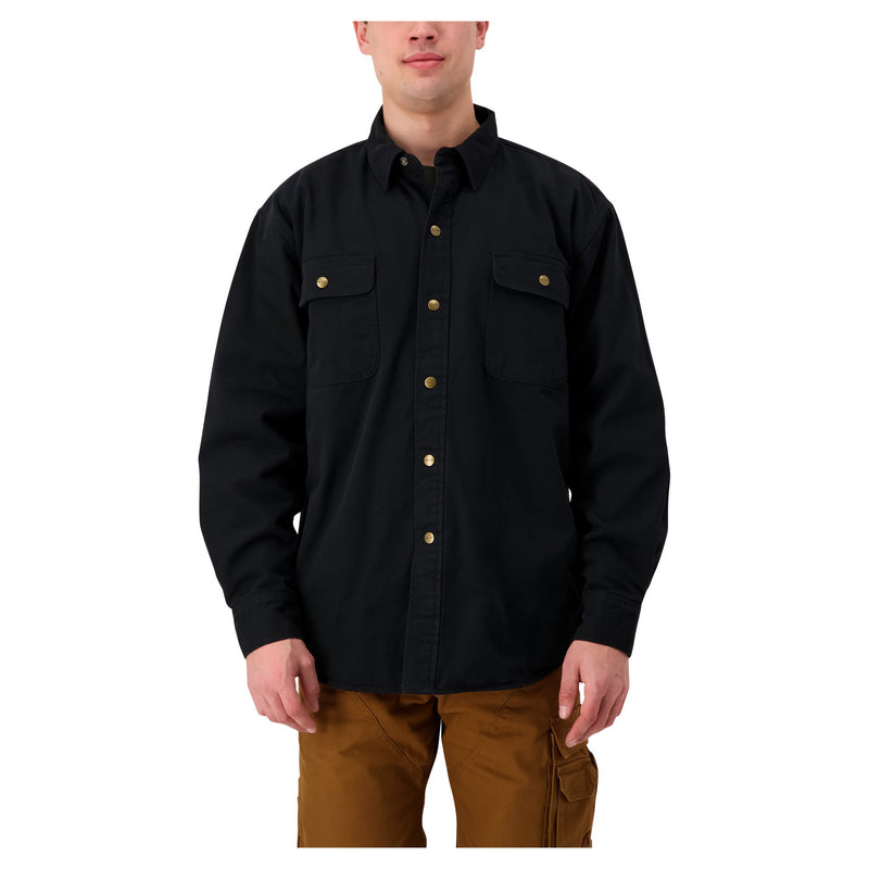 Men's Long Sleeve Fleece Insulated Work Shirt in Cotton Twill - Black
