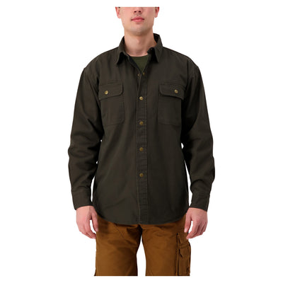 key features Men's Insulated Long Sleeve Cotton Work Shirt Jacket With Snap Front and Fleece Lining - Moss Green