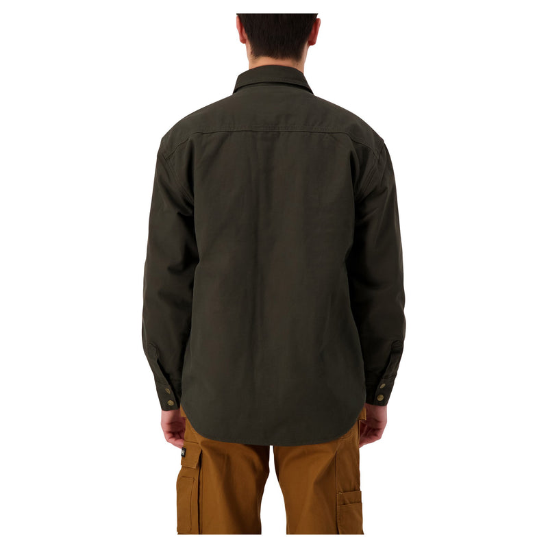 Men's Insulated Long Sleeve Cotton Work Shirt Jacket With Snap Front and Fleece Lining - Moss Green
