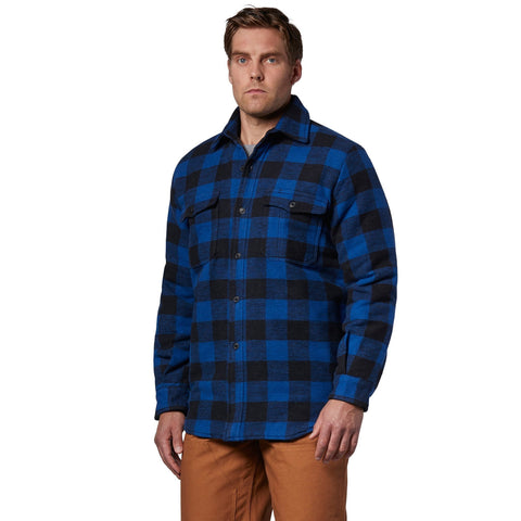 Men's lined & insulated doeskin work jacket with a cotton blend outer shell- Blue/Black Check