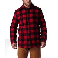 Men's lined & insulated doeskin work jacket with a cotton blend outer shell - Red/Black Check