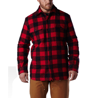 key features Men's Insulated Long Sleeve Work Shirt Jacket in Cotton Blend Plaid Check Flannel With Quilted Lining - Red/Black