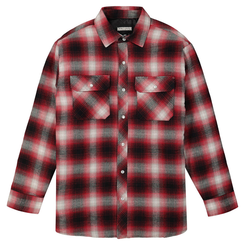 Men's Long Sleeve Shirt With Quilted Plaid Flannel and Snap Front Buttons - Red/Black Plaid