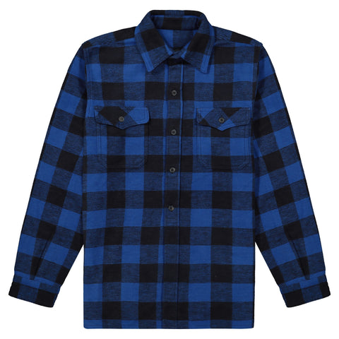 Men's unlined doeskin leather plaid work jacket, casual & lightweight - Blue/Black Check