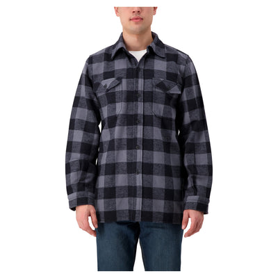 key features Men's Long Sleeve Work Shirt Jacket in Cotton Blend Flannel Plaid Check - Gray/Black