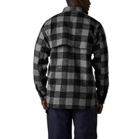 Men's unlined doeskin leather plaid work jacket, casual & lightweight - Grey/Black Check