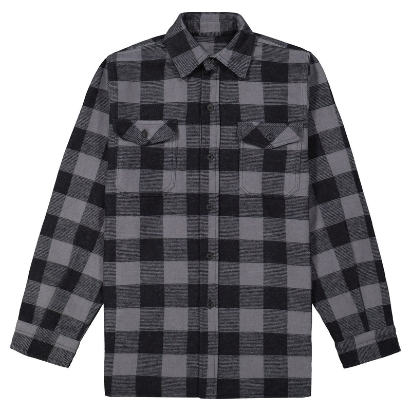 Men's Long Sleeve Work Shirt Jacket in Cotton Blend Flannel Plaid Check - Gray/Black