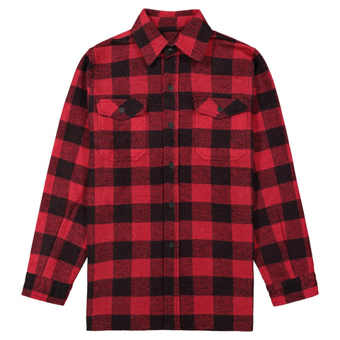 Men's Long Sleeve Work Shirt Jacket in Cotton Blend Flannel Plaid Check - Red/Black