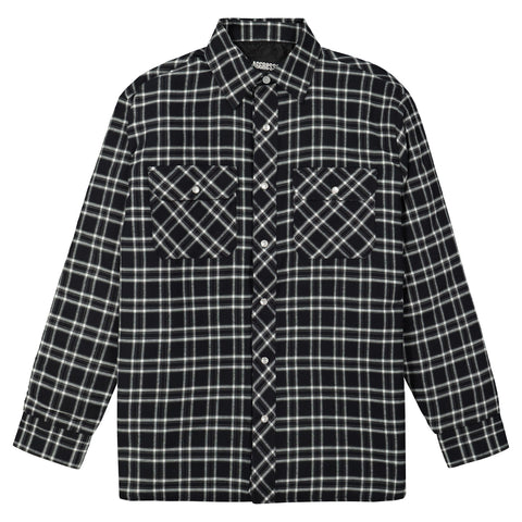 Men's Insulated Long Sleeve Cotton Flannel Plaid Work Shirt Jacket With Snap Front And Quilted Lining - Black/White Plaid