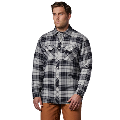 Men's Insulated Long Sleeve Cotton Flannel Plaid Work Shirt Jacket With Snap Front And Quilted Lining - Navy/Gray Plaid