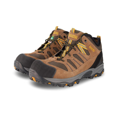 key features Men's Mid Cut Hiking Style Suede Safety Work Boots Aluminum Toe Composite Plated With Anti-Slip Soles - Brown