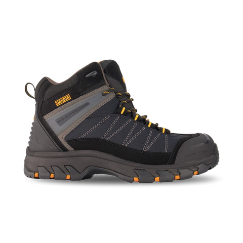 Men's Mid Cut Hiking Style Leather Safety Work Boots Steel Toe Plated with Anti-Slip Soles - Black