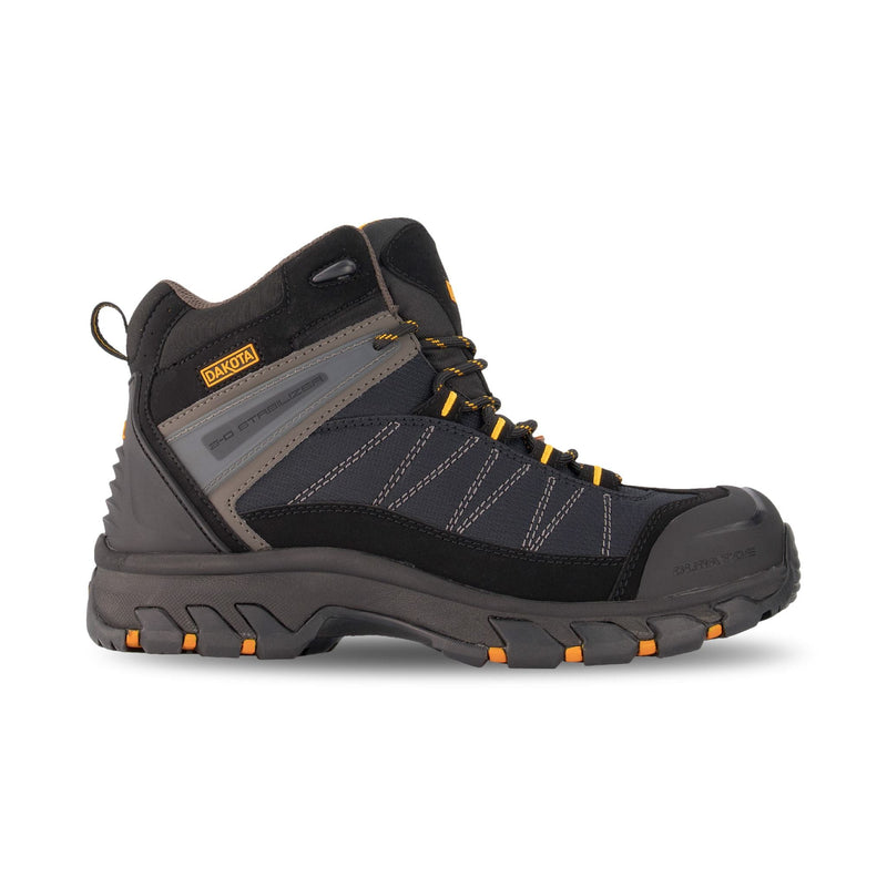 Men's Mid Cut Hiking Style Leather Safety Work Boots Steel Toe Plated with Anti Slip Soles - Black