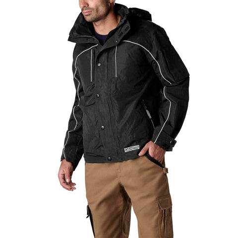 Men's Mid-Length Lightweight & Adjustable Shell Jacket - Black