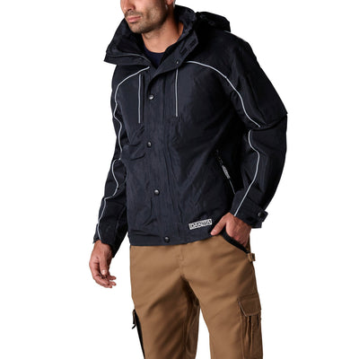 key features Men's Mid Length Lightweight & Adjustable Shell Work Jacket - Navy