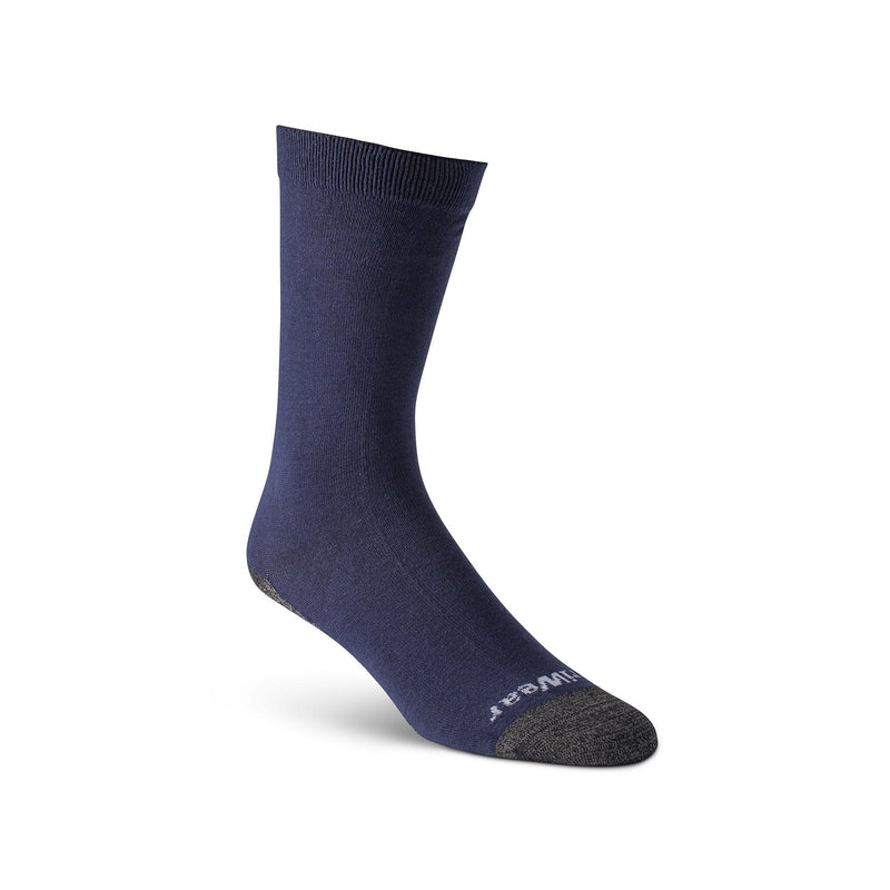 Men's 2 In 1 Work/Sport/Hiking Crew Socks/Sock Liners With Moisture Wicking And Odor Protection - Navy