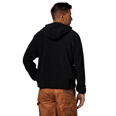 key features Men's Pullover Fleece Hoodie Sweatshirt With Quarter Zipper - Black