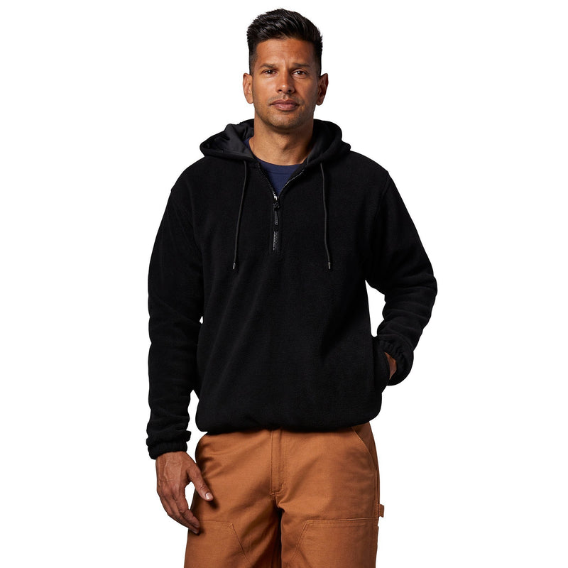Men's Quarter Zip Hooded Polar Fleece Work Jacket/Hoodie - Navy