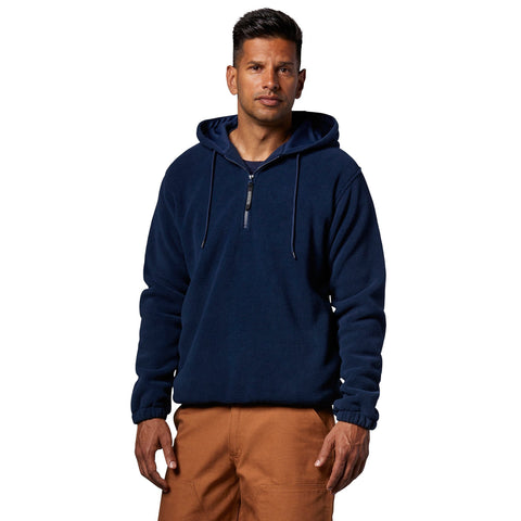Men's Quarter Zip Hooded Solar Fleece Jacket/Hoodie - Navy