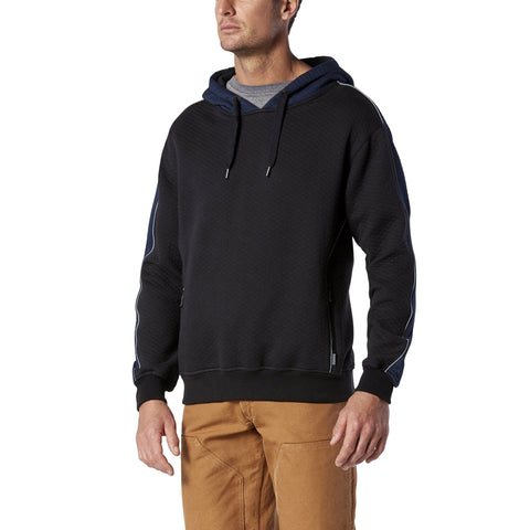 Men's Pullover Hoodie, Micro-Quilt Cotton - Black/Navy