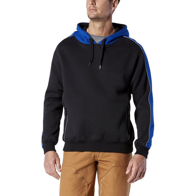 Men's Pullover Hoodie, Micro-Quilt Cotton - Black/Royal Blue