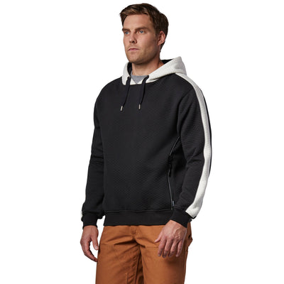 key features Men's Micro Quilted Cotton Jersey Fleece Pullover Hoodie Sweatshirt - Black/White