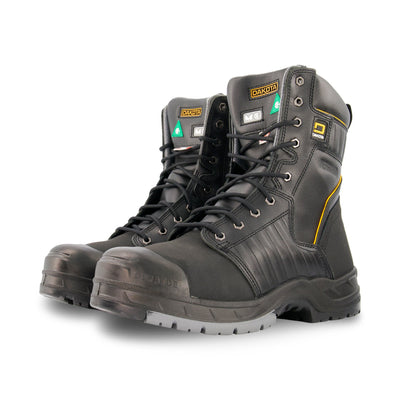 key features Men's 8 Inch Insulated Leather Safety Work Boots Steel Toe Composite Plated With Anti-Slip Soles - Black