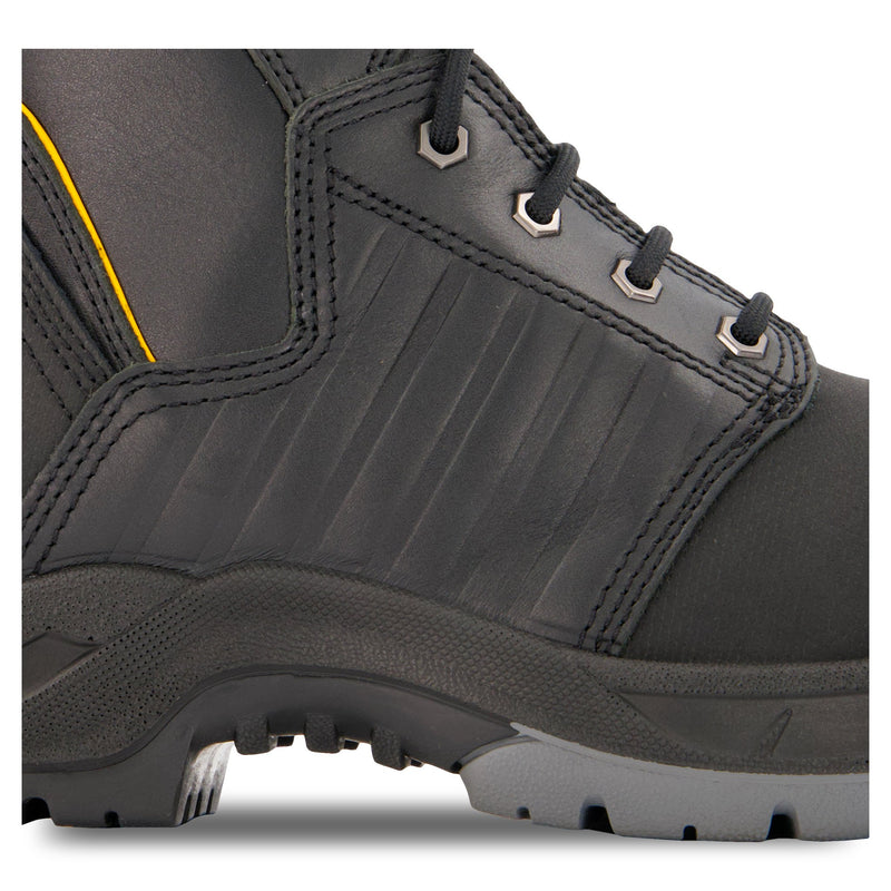 Men's 8 Inch Insulated Leather Safety Work Boots Steel Toe Composite Plated With Anti-Slip Soles - Black