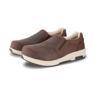 key features Men's Quad Stance Slip On Safety Work Shoe Steel Toe Plated- Dark Brown
