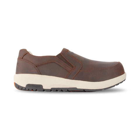 Men's Quad Stance Slip On Safety Work Shoe Steel Toe Plated- Dark Brown