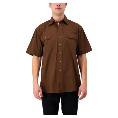 key features Men's Short Sleeve Work Shirt in Cotton Canvas - Chestnut