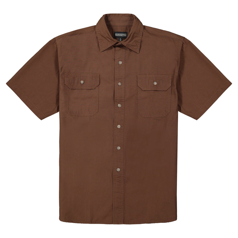 Men's Short Sleeve Work Shirt in Cotton Canvas - Chestnut