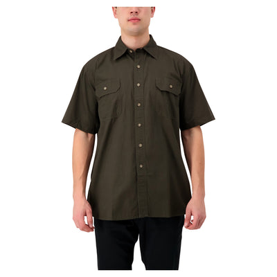 key features Men's Short Sleeve Button Up Cotton Canvas Work Shirt With Pockets - Moss Green