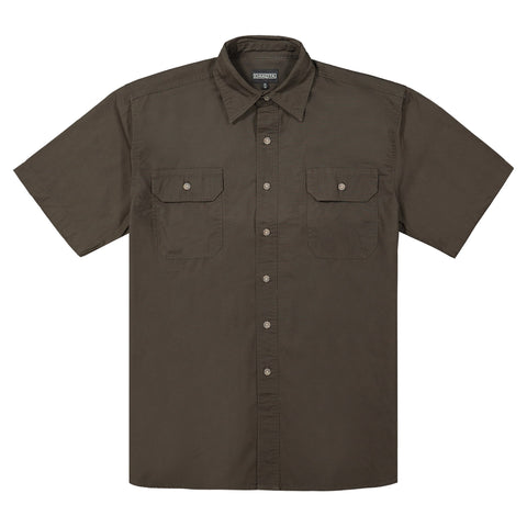 Men's Short Sleeve Work Shirt in Cotton Canvas - Moss