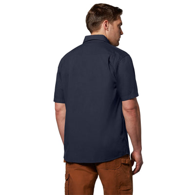 key features Men's Short Sleeve Work Shirt in Cotton Canvas - Navy