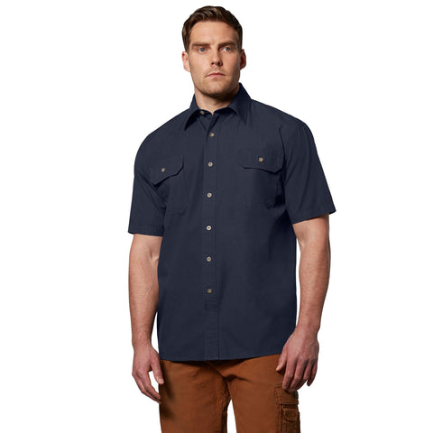 Men's short sleeve cotton canvas contractor workwear shirt - Navy