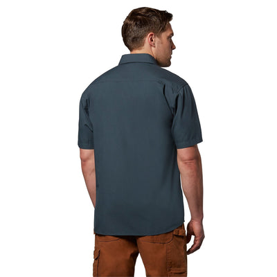 key features Men's Short Sleeve Button Up Cotton Canvas Work Shirt With Pockets - Storm Blue